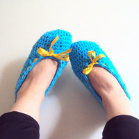 Women Slippers Crochet Flats Soft and Comfortable Tourquise Indoor Slippers House Shoes Crochet Women Men Shoes Gift Ideas