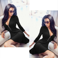 Simple Solid Color Exposed Chest Deep V-Neck Middle Sleeve Zip Bodycon Mini Dress