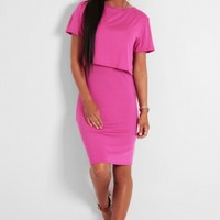 Mysin Pink Layered T-Shirt Style Dress | Pink Boutique