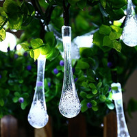 ICICLE Solar Outdoor String Lights, 15.7 Ft 8 Light Modes 20 Water Drop White LEDs, Led Fairy Lighting for Garden Decorations, Fence, Patio, Christmas, Wedding, Party, Home and Holiday