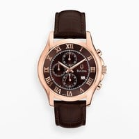 Bulova Rose Gold Tone Stainless Steel Leather Chronograph Watch - 97B120 - Men