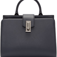 Grey Leather Small West End Handle Bag