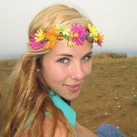 "Adjustable Flower Crown - ""Go Fly a Kite"" ,  Daisy Crown"