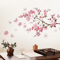 Pink butterfly flower Tree Wall Stickers Decals