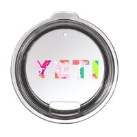 Lilly Inspired Pattern Yeti Lid Decal Yeti Logo for Rambler or Tumbler - Any Color -  30oz - 20oz - Pattern- Preppy