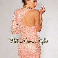 Pink Coral Sequined Single 3/4 Sleeve Dress