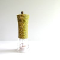 Gray and Yellow Pepper Mill Wood and Acrylic Pepper mill Grinder Hand painted