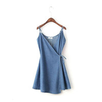 Blue Wrap Cami Dress With Tie Detail