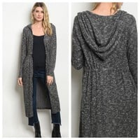 Closeout-Cozy Black Pepper Hooded Cardigan