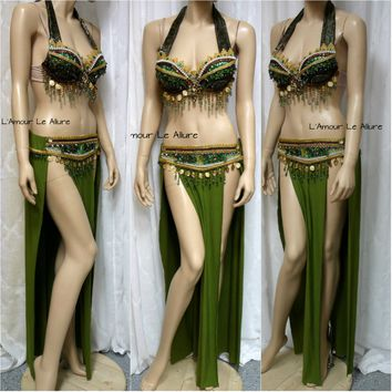 Green Leafeon Gypsy Belly Dancer Rave Bra Cosplay Halloween Costume Pokemon Show Girl Burlesque