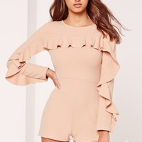 Missguided - Crepe Frill Detail Playsuit Nude