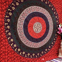 Multicolor Floral Indian Handmade Mandala Dorm Decoratiive Beach Blanket Tapestry