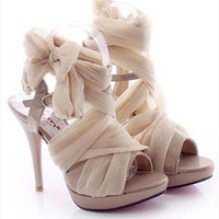 High Heel Chiffon Lace Up Sandals for Women Beige NJX061626 from topsales