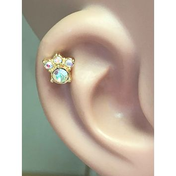 Animal Paw Print Gold Cartilage Tragus Earring