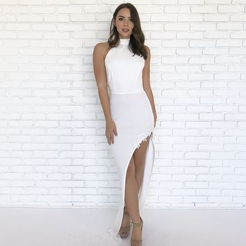 Purity White Backless Maxi Dress