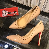 Christian Louboutin CL Women Fashion Rivet Heels Shoes 10CM
