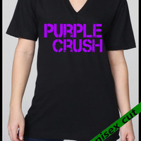 Baltimore RAVENS  Purple Crush Unisex  V neck hand print S-XXL. Lady Raven fan. football. Baltimore Maryland. Raven fan shirt. Sports.