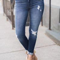 Close To You Distressed Kancan Skinny Jean (Dark Wash)