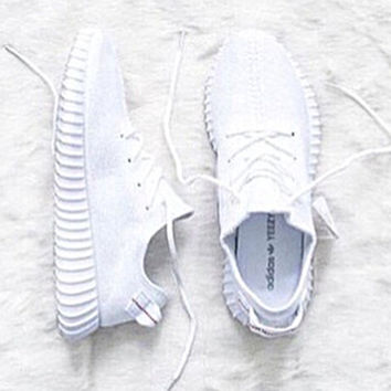"""Fahion """"Adidas"""" Women Yeezy Boost Sneakers Running Sports Shoes White"""