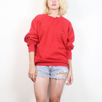 Vintage Mickey Mouse Sweatshirt 1980s Solid Red V Neck Boyfriend Sweater Cartoon Disney Embroidered Jumper 80s Tshirt Tee L Extra Large XL