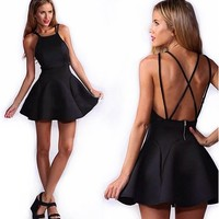 Moxeay Back Straps Cross Sexy stretch Swing Skater Dress