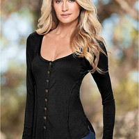Plunge Long Sleeve Buttoned Blouse