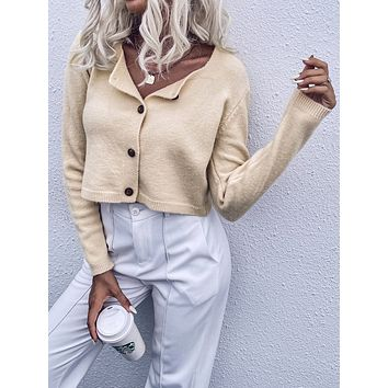 Solid Button Up Cardigan