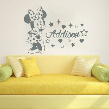 Wall Decal Name Vinyl Sticker Decals Minnie Mouse Home Decor Design Mural Disney Personalized Custom Baby Name Mice Ears Baby Decor AN684