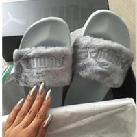"""PUMA"" Rihanna Fenty Leadcat Fur Slipper shoes Grey(9- colors)"