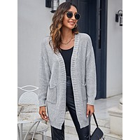 Drop Shoulder Double Pocket Cardigan