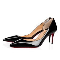 Christian Louboutin Cl Iriza Black Patent Leather 70mm Stiletto Heel