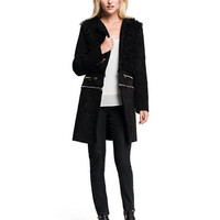 1 State Convertible Faux Shearling Coat