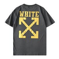 Off White New fashion letter print couple top t-shirt Gray