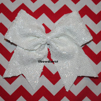 """3"""" White Sequin Cheer Bow"""