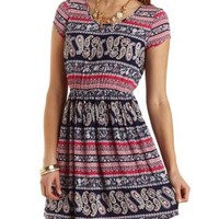 Short Sleeve Paisley Print Dress by Charlotte Russe