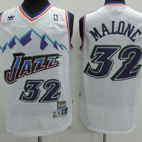 Utah Jazz #32 Karl Malone White Retro Swingman Jersey