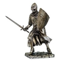 Crusader Knight Statue Silver Finishing Cold Cast Resin Statue 7 (8714)