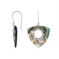 AE-1083-AB Sterling Silver Trillion Shape Earring With Abalone Shell