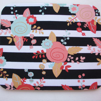 Mouse Pad mousepad / Mat - Rectangle or round - metallic gold flowers black white stripes