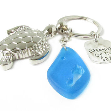 Sea Turtle Keychain with Sea Glass Pendant