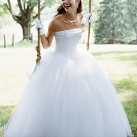 Strapless Tulle Ball Gown with Beaded Satin Bodice - David's Bridal