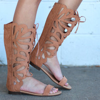 Fantacy Tall Gladiator Lace Up Sandals {Tan}