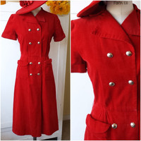 Vintage 1940s Red Dress / 40s Corduroy Dress / 40s Day Dress /  Laura Lee / Pockets Dress / Vintage WW2 Dress