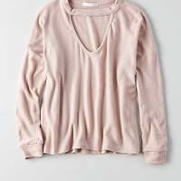 Don't Ask Why Plush Choker Sweater, Just Rosey