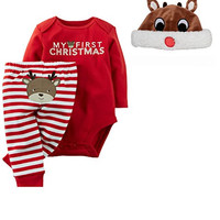 Carter's Baby My First Christmas 3 Piece Bodysuit Pant and Santa Hat Set Unisex (Newborn-Reindeer Hat)