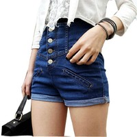Lady Button Closure High Rise Fake Pocket Front Shorts Jeans