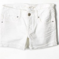 AEO Women's Rolled Denim Midi Short (White)