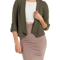 Olive Cuffed Sleeve Open Front Blazer by Charlotte Russe