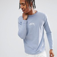 Stussy Pigment Dyed Long Sleeve T-Shirt With Logo in Blue at asos.com