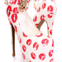 White Red Printed Lion Head High Heels Faux Leather